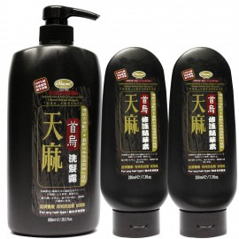 梨奧美天麻首烏防脫髮洗護套裝(洗髮露800ML-1支+護髮素200ml-2支)